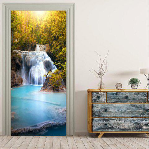 MailingArt 3D HD Canvas Print Door Wall Sticker Mural Home Decor Small Waterfall - multicolor 38.5X200CM