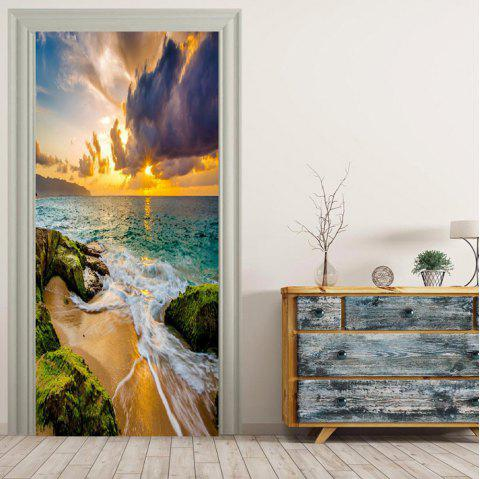 MailingArt 3D HD Canvas Print Porte Sticker Mural Décorations Murales Décorations Murales Beach River - multicolor 38.5 X 200CM