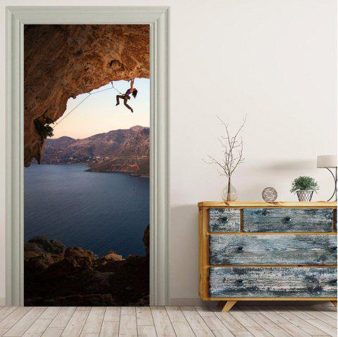 MailingArt 3D HD Canvas Print Door Wall Sticker Mural Home Decor Climber And Sky - multicolor 38.5 X 200CM