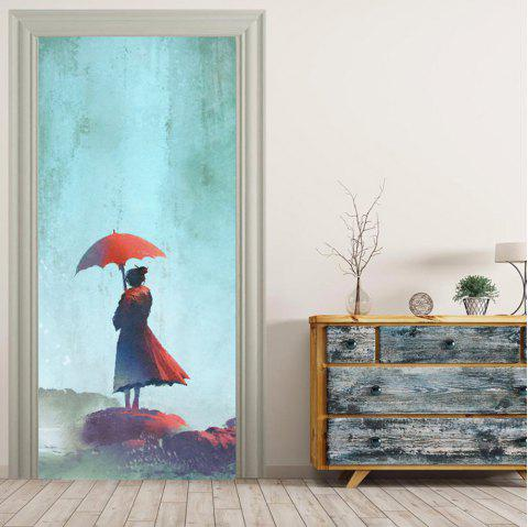 MailingArt 3D HD Canvas Print Door Wall Sticker Mural Home Decor Red Skirt Girl - multicolor 38.5 X 200CM