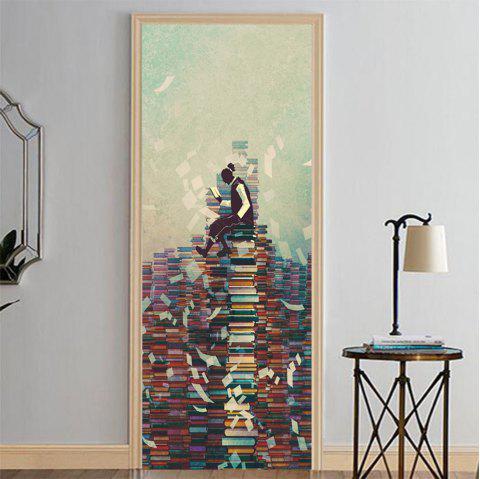 MailingArt 3D HD Canvas Print Door Wall Sticker Mural Home Decor Read Books - multicolor 38.5 X 200CM