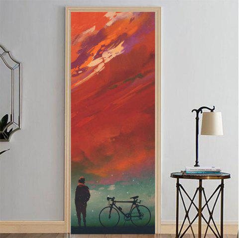 MailingArt 3D HD Canvas Print Door Wall Sticker Mural Home Decor Boy And Bike - multicolor 38.5 X 200CM