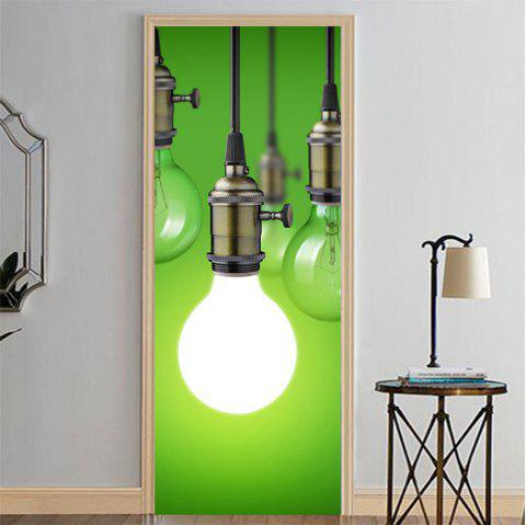 MailingArt 3D HD Canvas Print Door Wall Sticker Mural Home Decor Green Lightbulb - multicolor 38.5 X 200CM