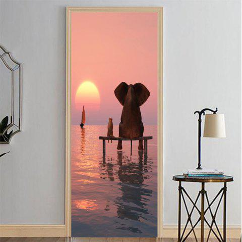 MailingArt 3D HD Canvas Print Door Wall Sticker Mural Home Decor Elephant Mouse - multicolor 38.5 X 200CM