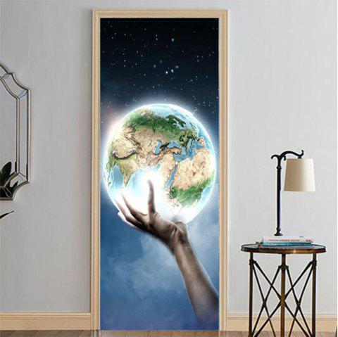 MailingArt 3D HD Canvas Print Door Wall Sticker Mural Home Decor Lighted Earth - multicolor 38.5 X 200CM