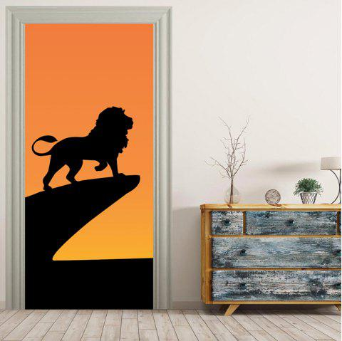 MailingArt 3D HD Canvas Print Door Wall Sticker Mural Home Decor Lion Shadow - multicolor 38.5X200CM