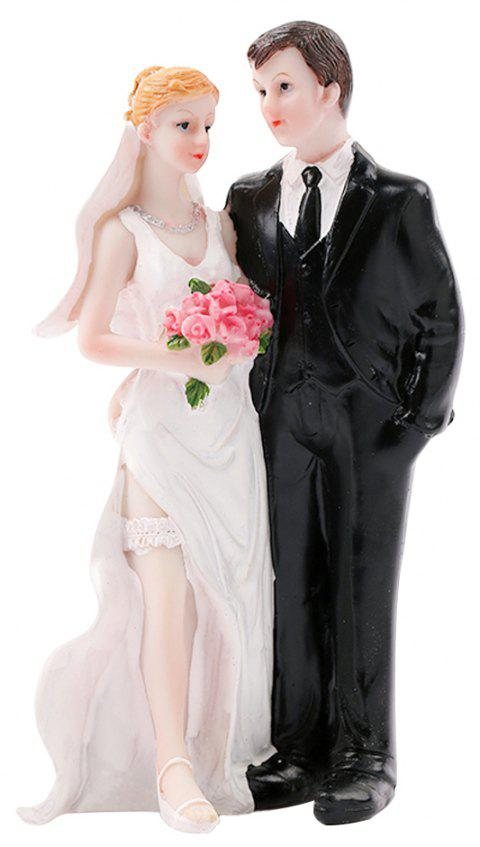 Parallèle The Bride The Groom Cake Topper Ornaments Décoration - Blanc