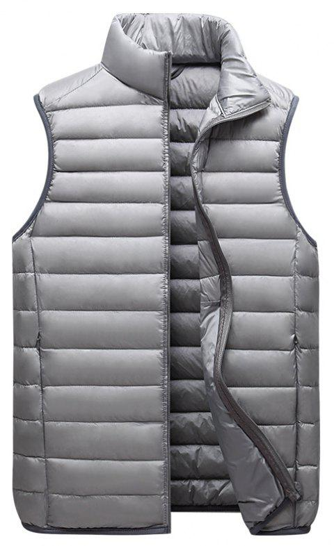 Men Vest Jacket Fashion Slim Sleeveless Quilted Solid Color Zipper - LIGHT GRAY L