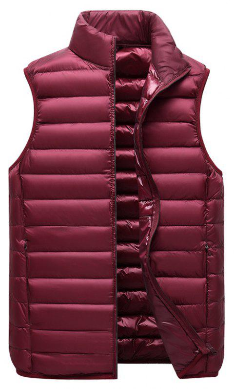 Men Vest Jacket Fashion Slim Sleeveless Quilted Solid Color Zipper - RED WINE XL