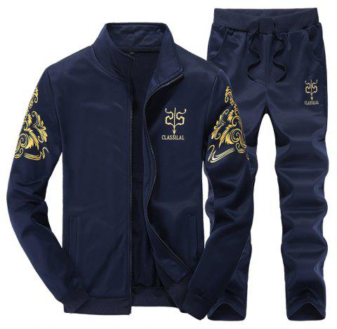Men Active Tracksuit 2Pcs Solid Color Zipper Active Tracksuit - DEEP BLUE 2XL