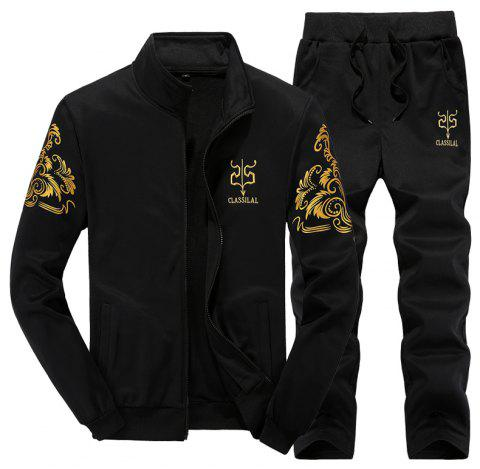 Men Active Tracksuit 2Pcs Solid Color Zipper Active Tracksuit - BLACK L