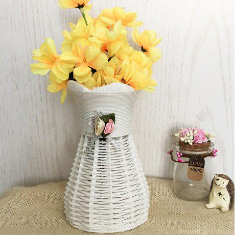 Compilation Basket Creative Artificial with Rattan Lotus Leaf Vase - WHITE