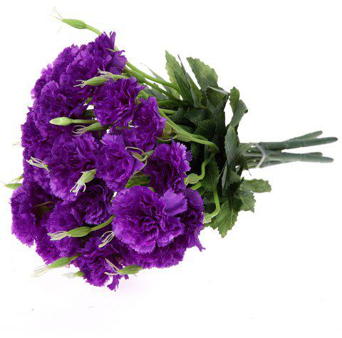 Artificial Flower 5 Heads Carnation Wedding Christmas Decorative Home 4 Colors - DARK ORCHID