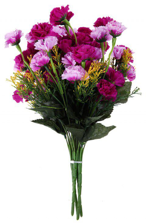 A Bouquet of 7 Heads Carnation Home Decor Artificial Flower - DARK ORCHID