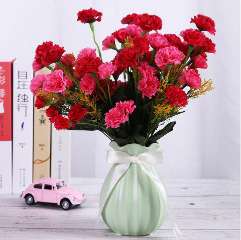 A Bouquet of 7 Heads Carnation Home Decor Artificial Flower - ROSE RED