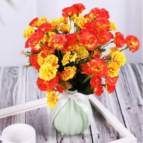 Un Bouquet de 7 Têtes Carnation Home Decor Fleur Artificielle - Jaune de Maïs