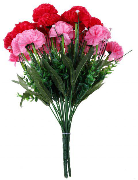 10 Heads Carnation Home Decoration Branch of Artificial Flowers Diy Accessories - VALENTINE RED