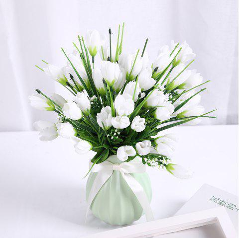 Sweet A Bouquet of Room Decoration Artificial Magnolia Flower - WHITE