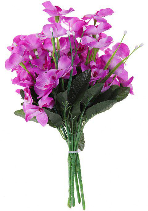 5 Heads Comtemporary Silk Home Decoration Artificial Phalaenopsis Flower - TYRIAN PURPLE