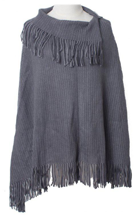 Comfortable and Soft Lady's Knitted Cloak with Fringes - GRAY CLOUD