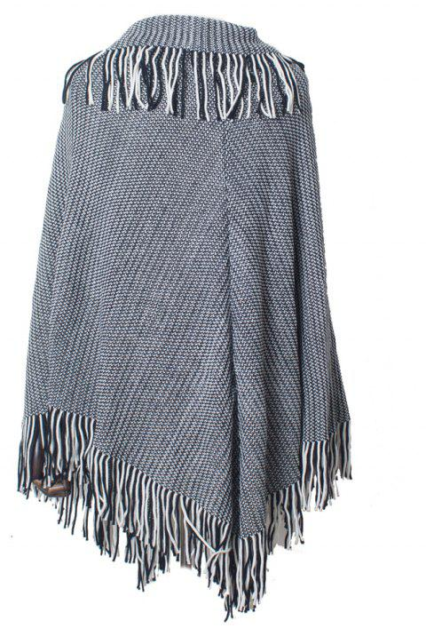 Comfortable and Soft Lady's Knitted Cloak with Fringes - BLACK