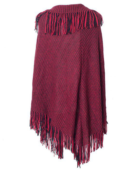 Comfortable and Soft Lady's Knitted Cloak with Fringes - RED