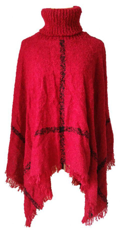 Tall Dress Collar with Plaid Lady's Scarf - RED