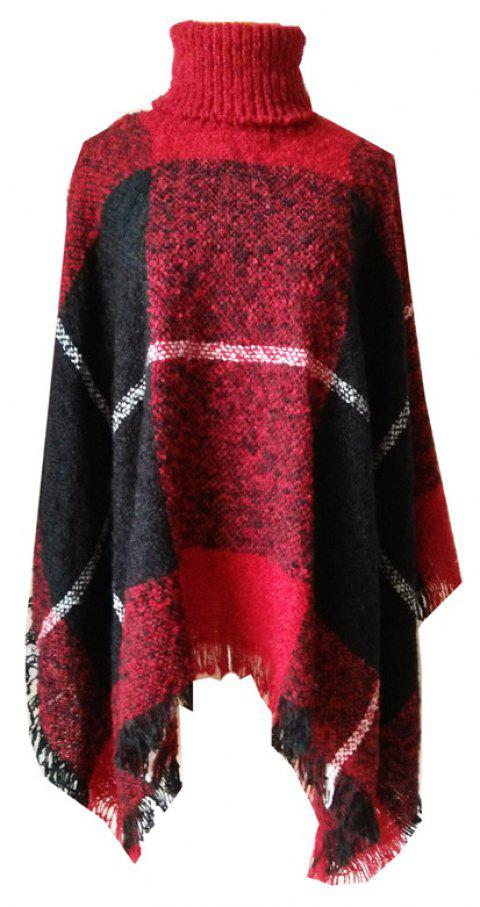 Tall Dress Collar with Plaid Lady's Scarf - RUBY RED
