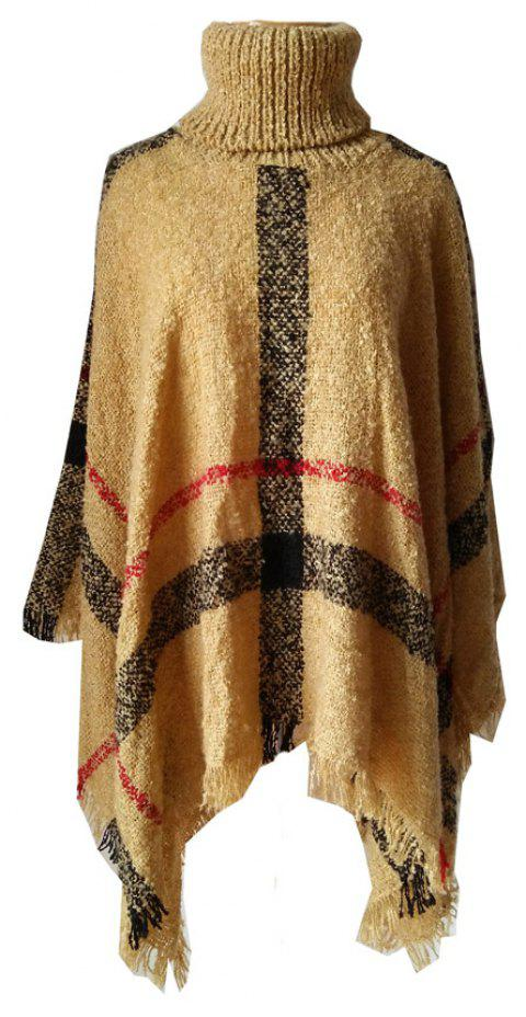 Tall Dress Collar with Plaid Lady's Scarf - CAMEL BROWN