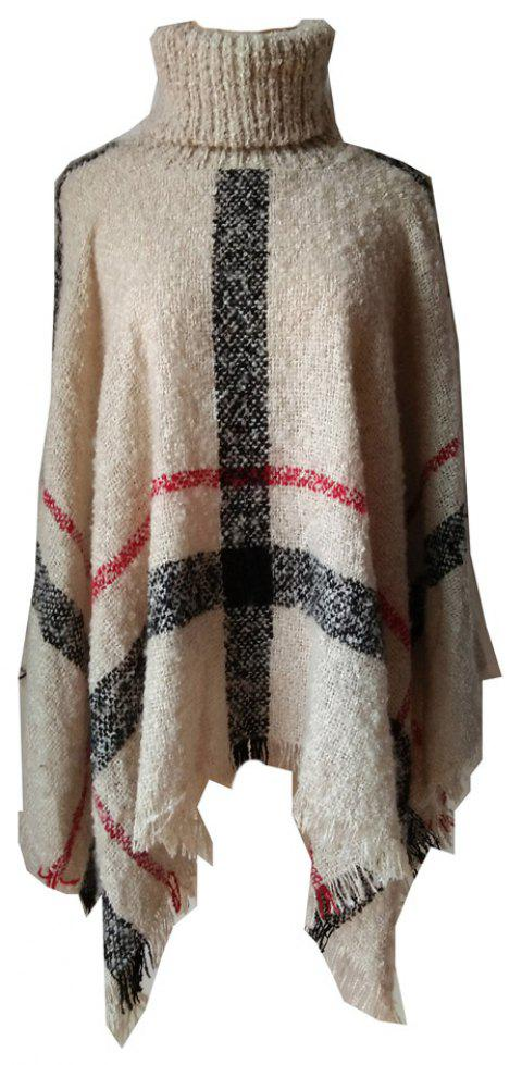 Tall Dress Collar with Plaid Lady's Scarf - WARM WHITE