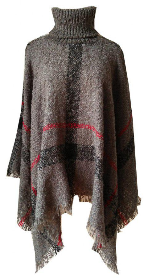 Tall Dress Collar with Plaid Lady's Scarf - CARBON GRAY