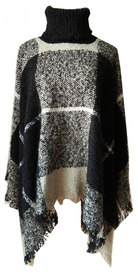 Tall Dress Collar with Plaid Lady's Scarf - ASH GRAY