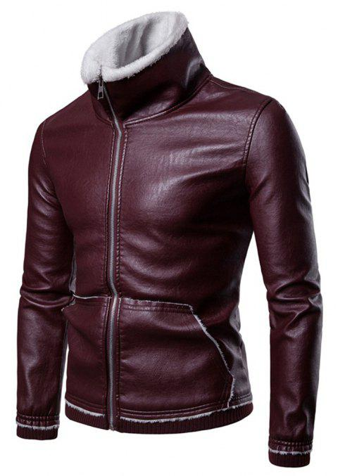 Men's  Winter Lapel Casual Lamb Jacket - RED WINE M
