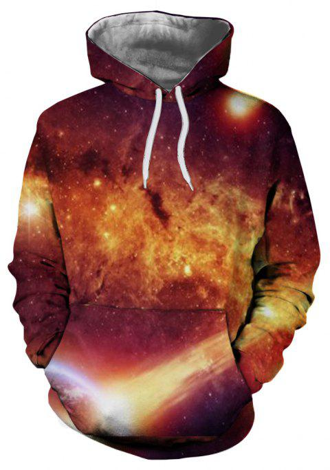 Fashion New Men's Starry Sky 3D Digital Print Large Pocket Hooded Sweater - multicolor L
