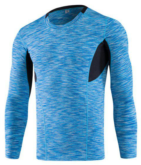 Men's Tight-Fitting Fitness Running Quick-Drying Stretch T-Shirt - BLUE L
