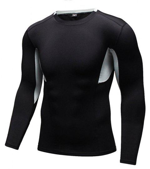 Men's Tight-Fitting Fitness Running Quick-Drying Stretch T-Shirt - BLACK M