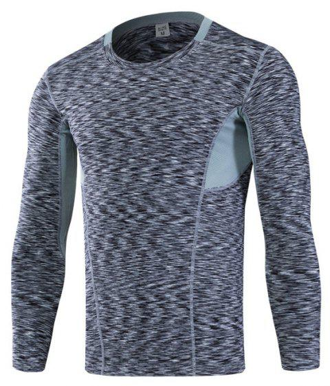 Men's Tight-Fitting Fitness Running Quick-Drying Stretch T-Shirt - DARK GRAY 3XL