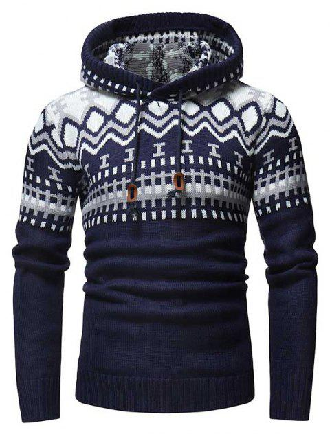 Men's Fashion Contrast Color Stitching Hooded Slim Knit Sweater - CADETBLUE XL