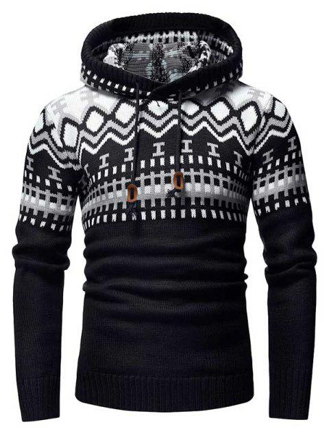 Men's Fashion Contrast Color Stitching Hooded Slim Knit Sweater - BLACK M