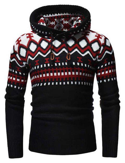 Men's Fashion Contrast Color Stitching Hooded Slim Knit Sweater - RED M