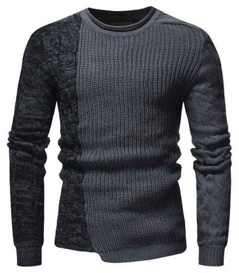 Men's Fashion Round Neck Pullover Slim Sweater - GRAY M