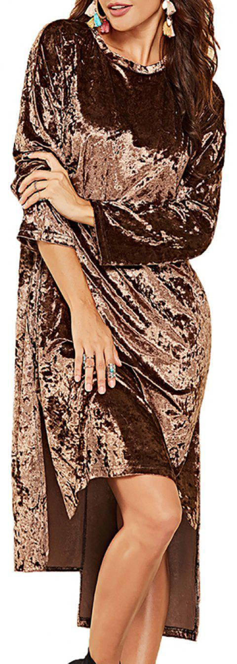 Women's Round Neck Solid Color Irregularly  Long Sleeved Split Loose Dress - BROWN M