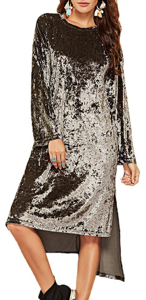 Women's Round Neck Solid Color Irregularly  Long Sleeved Split Loose Dress - CARBON GRAY 2XL