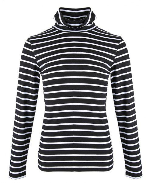 Women's Turtleneck Long Sleeve Stripes Bottom T-shirts Basic Tops Tees - BLACK M