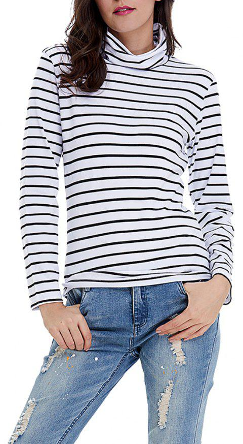 Women's Turtleneck Long Sleeve Stripes Bottom T-shirts Basic Tops Tees - WHITE 2XL