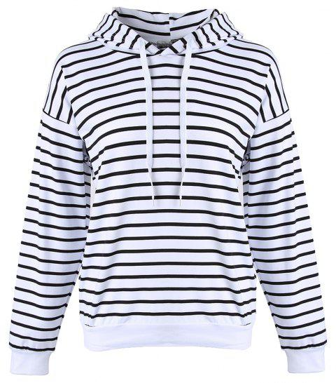 Women's Stripes Pattern Long Sleeve Casual Hoodie Thin Section Strap Sweatshirt - WHITE L