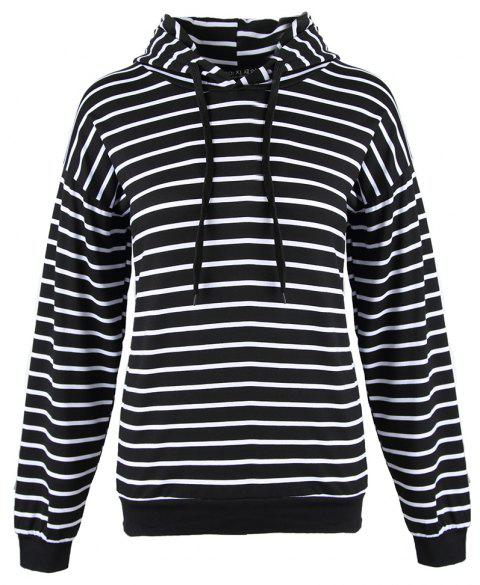 Women's Stripes Pattern Long Sleeve Casual Hoodie Thin Section Strap Sweatshirt - BLACK L