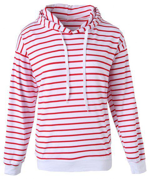 Women's Stripes Pattern Long Sleeve Casual Hoodie Thin Section Strap Sweatshirt - RED L