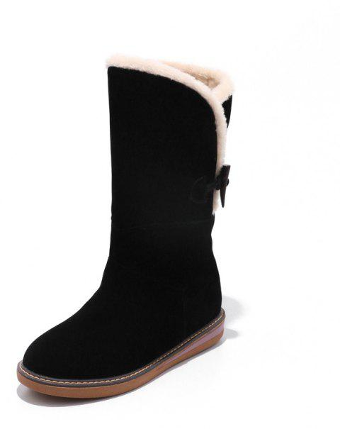 Frosted Buckle Zipped Warm Comfortable Flat Heel Snow Boots - BLACK EU 39