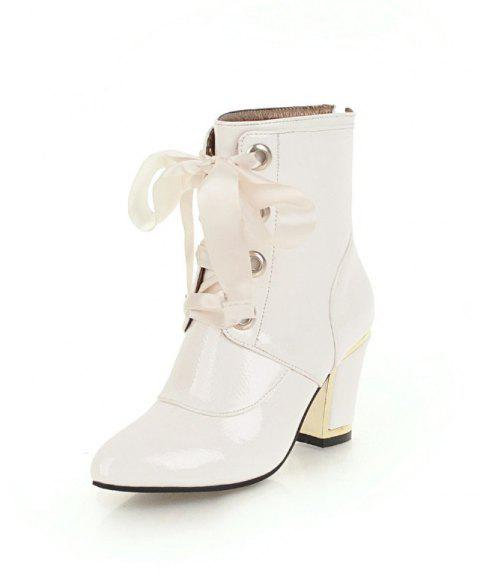 Chunky Red Ribbon Boots with Pointed Toes - WHITE EU 37